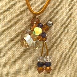【SALE】 小さなガラス瓶のアロマペンダント  イエロー・花(メール便可)長さ調節可能・香りを胸元に♪
