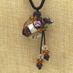 【SALE】 小さなガラス瓶のアロマペンダント  バイオレット・花(メール便可)長さ調節可能・香りを胸元に♪