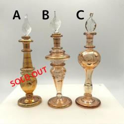 【SALE】吹きガラスの香水瓶 Sサイズ(約13cm)イエロー アロマ容器・アロマボトルを可愛く♪