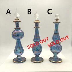 【SALE】吹きガラスの香水瓶 Sサイズ(約13cm)ブルー1 アロマ容器・アロマボトルを可愛く♪