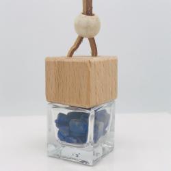 木蓋のアロマガラス瓶 ストラップ付 パワーストーン:ラピスラズリ (メール便可)