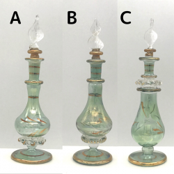 【SALE】吹きガラスの香水瓶 Sサイズ(約13cm)グリーン2 アロマ容器・アロマボトルを可愛く♪