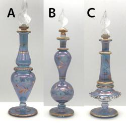 【SALE】吹きガラスの香水瓶 Sサイズ(約13cm)ブルー2 アロマ容器・アロマボトルを可愛く♪