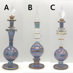 【SALE】吹きガラスの香水瓶 Sサイズ(約13cm)ブルー3 アロマ容器・アロマボトルを可愛く♪