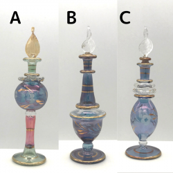 【SALE】吹きガラスの香水瓶 Sサイズ(約13cm)ブルー4 アロマ容器・アロマボトルを可愛く♪