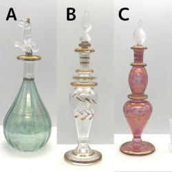【SALE】吹きガラスの香水瓶 Sサイズ(約13cm) アロマ容器・アロマボトルを可愛く♪