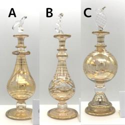 【SALE】吹きガラスの香水瓶 M (約15-17cm)イエロー2 アロマ容器・アロマボトルを可愛く♪