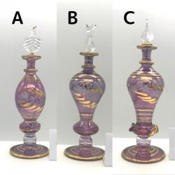 【SALE】吹きガラスの香水瓶 M (約15-17cm)バイオレット2 アロマ容器・アロマボトルを可愛く♪