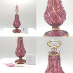 【SALE】吹きガラスの香水瓶 M (約15-17cm)レッド3  アロマ容器・アロマボトルを可愛く♪
