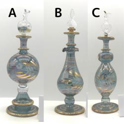 【SALE】吹きガラスの香水瓶 M (約15-17cm)ブルー3 アロマ容器・アロマボトルを可愛く♪