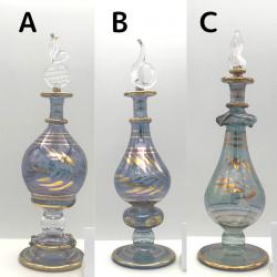 【SALE】吹きガラスの香水瓶 M (約15-17cm)ブルー2 アロマ容器・アロマボトルを可愛く♪