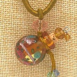 【SALE】 小さなガラス瓶のアロマペンダント  M2 イエロー(メール便可)長さ調節可能・香りを胸元に♪