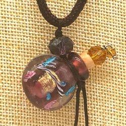【SALE】 小さなガラス瓶のアロマペンダント  M4 バイオレット(メール便可)長さ調節可能・香りを胸元に♪