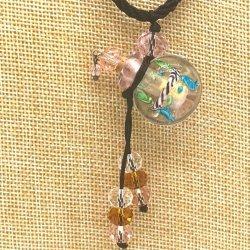 【SALE】 小さなガラス瓶のアロマペンダント  M5 ピンク(メール便可)長さ調節可能・香りを胸元に♪