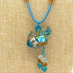 【SALE】 小さなガラス瓶のアロマペンダント  M14 ライトブルー(メール便可)長さ調節可能・香りを胸元に♪