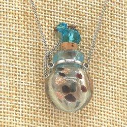 小さなガラス瓶のアロマペンダント SK1 スカイブルー(メール便可)香りを胸元に♪