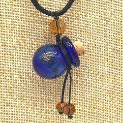 【SALE】 小さなガラス瓶のアロマペンダント PS6 ブルー(メール便可)長さ調節可能・香りを胸元に♪