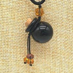 【SALE】 小さなガラス瓶のアロマペンダント PS8 ブラック(メール便可)長さ調節可能・香りを胸元に♪
