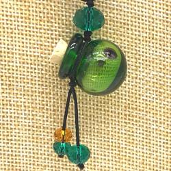 【SALE】 小さなガラス瓶のアロマペンダント PS9 グリーン(メール便可)長さ調節可能・香りを胸元に♪
