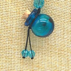【SALE】 小さなガラス瓶のアロマペンダント PS10 スカイブルー(メール便可)長さ調節可能・香りを胸元に♪