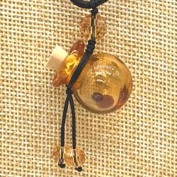 【SALE】 小さなガラス瓶のアロマペンダント PS11 イエロー(メール便可)長さ調節可能・香りを胸元に♪