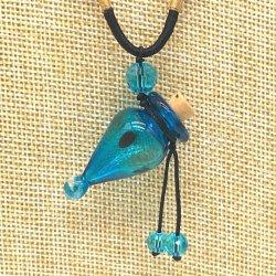 【SALE】 小さなガラス瓶のアロマペンダント PS12 スカイブルー(メール便可)長さ調節可能・香りを胸元に♪