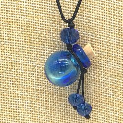 【SALE】 小さなガラス瓶のアロマペンダント PS15 ブルー(メール便可)長さ調節可能・香りを胸元に♪