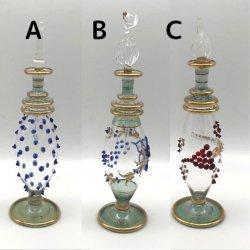 【SALE】絵付装飾の吹きガラス香水瓶  M (約15-17cm) 3  アロマ容器・アロマボトルを可愛く♪