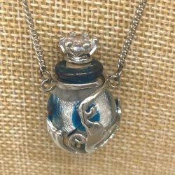 【メール便・送料無料】小さなガラス瓶のアロマペンダント  PSK2 コルク栓は王冠風 キラキララインストーン付!ワードローブや気分に合わせて香りを胸元に。可愛いガラスのアクセント♪