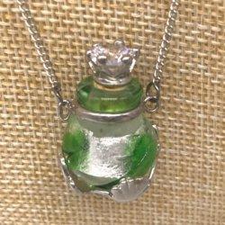 【メール便・送料無料】小さなガラス瓶のアロマペンダント  PSK3 コルク栓は王冠風 キラキララインストーン付!ワードローブや気分に合わせて香りを胸元に。可愛いガラスのアクセント♪