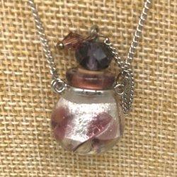 【メール便・送料無料】小さなガラス瓶のアロマペンダント PSK7 パープル /ブルー  ワードローブや気分に合わせて香りを胸元に。可愛いガラスのアクセント♪