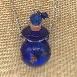 【メール便・送料無料】小さなガラス瓶のアロマペンダント PSK8 ブルー3種 ワードローブや気分に合わせて香りを胸元に。可愛いガラスのアクセント♪