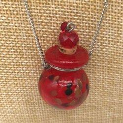 【メール便・送料無料】小さなガラス瓶のアロマペンダント PSK10 レッド3種 ワードローブや気分に合わせて香りを胸元に。可愛いガラスのアクセント♪