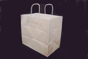 (手提紙袋)チャームバッグ白無地 50枚<br>※サイズの異なる2種類からお選び下さい