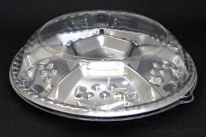 (蓋付オードブル皿)<br>シェルトプラッター<br>丸30 銀<br>本体蓋セット 10枚