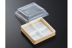 (和菓子用4つ仕切カップ)<br>AWS−4NL 関東杉<br>透明高蓋付  720個(1ケース)