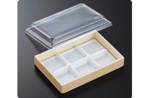 (和菓子用6つ仕切カップ)<br>AWS−6L 関東杉<br>透明高蓋付        600個(1ケース)