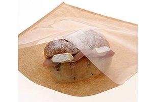(ベーカリー袋)<br>窓付フラットバッグ<br>1袋100枚<br>1ケース3000枚<br>【未晒と白の2種類ございます】