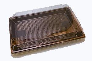 (使い捨て寿司容器)<br/>もりー120 黒<br>本体・透明蓋<br>1ケース(800個)