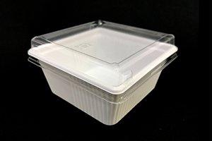(万能容器)SDキャセロ<br>4K 100−46<br>本体・透明高蓋セット<br>1800枚 (色柄ホワイト・ブラックの二種類からお選び下さい)