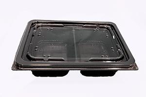 (サラダ・惣菜テイクアウト容器)<br>DLV角 19-14-1(47)MSD<br>本体 内外嵌合K蓋(穴有)セット<br>400枚<br>(黒・白Wの2色からお選び下さい)