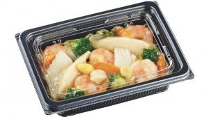 (洋食・麺・丼テイクアウト容器)<br>DLV角 19-14(47)MSD<br>本体 内外嵌合K蓋(穴有)セット<br>400枚<br>(黒・白Wの2色からお選び下さい)
