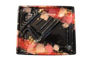 (弁当容器)<br>巧膳23-20-3H 華やぎ赤<br>透明外嵌合蓋セット 50枚