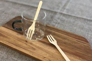 木製フォーク10cm 透明袋入<br>100本