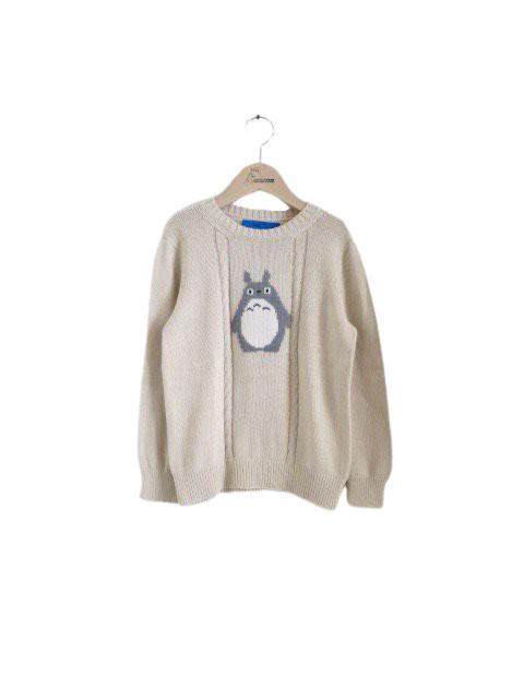 トトロ手編み縫いケーブルニット (小人・ナチュラル)