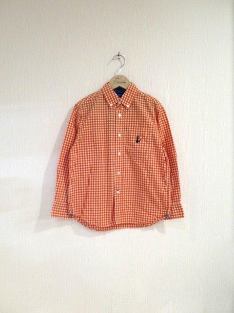 ジジ手刺繍チェックシャツ (1点もの/サイズ150)