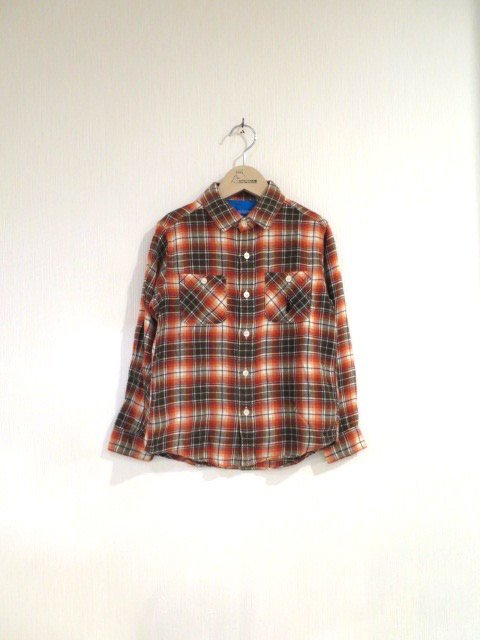 ジジ手刺繍チェックシャツ (1点もの/サイズ130)