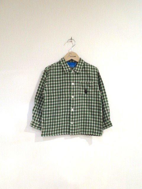 ジジ手刺繍チェックシャツ (1点もの/サイズ110)