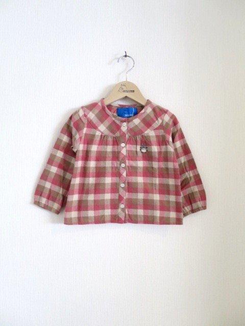 トトロ手刺繍チェックシャツ (1点もの/サイズ90)