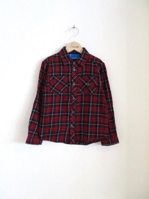 ジジ手刺繍チェックシャツ (1点もの/サイズ120)